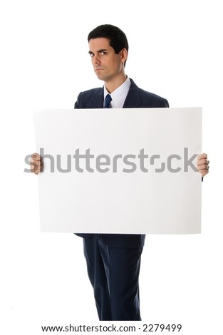 man holding a blank card for advertising