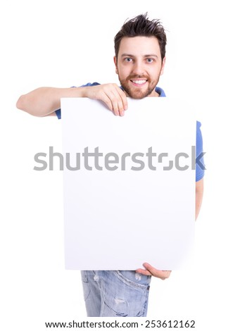 Man holding a blank card isolated on white background - stock photo