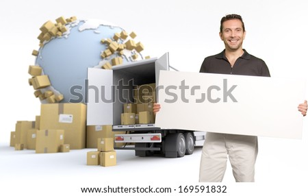Man holding a blank sign, in an international transportation context, ideal for inserting your own message - stock photo