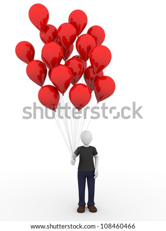 Man holding a bunch of red balloons - stock photo
