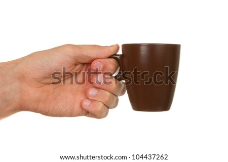 Man holding a cup of coffee, isolated on white - stock photo
