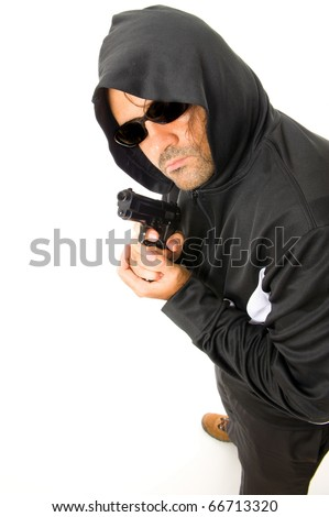Man Holding a fire gun over white background .