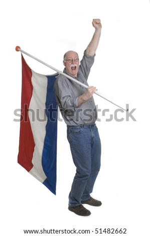 Man holding a flag isolated on white - stock photo