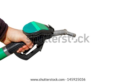 Man holding a fuel nozzle, isolated on white background - stock photo