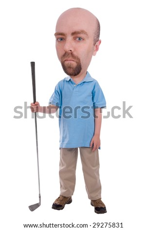 Man holding a golf club isolated over a white background - stock photo