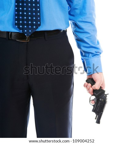 man holding a gun. Isolated on white background