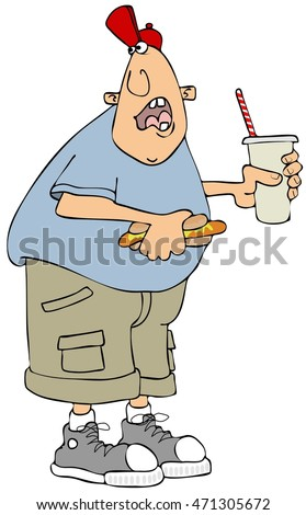Man holding a hot dog and soda