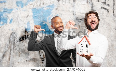 man holding a house - stock photo