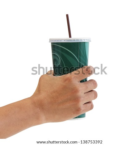 Man holding a paper cup with tube isolated over white background - stock photo