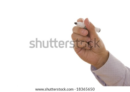 Man holding a pen isolated on a white background with space for text - stock photo