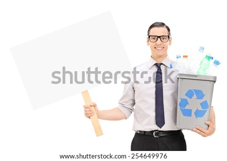 Man holding a recycle bin and a blank banner isolated on white background - stock photo