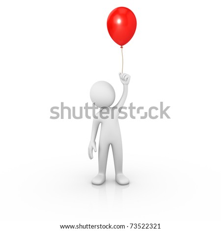 Man holding a red balloon - stock photo