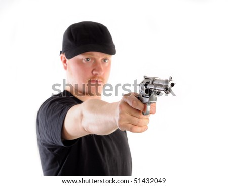 Man holding a revolver, isolated on white - stock photo