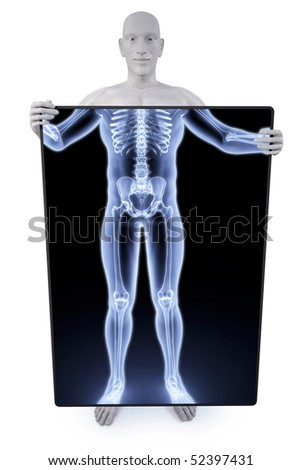 man holding a screen that shines through his body X-rays. - stock photo