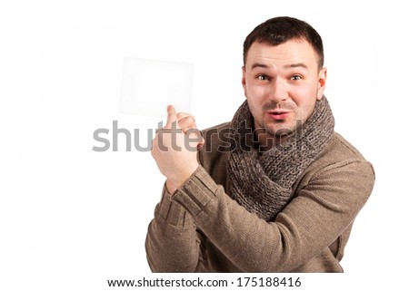 Man holding a sign for the label. Man showing the place of words and writing in it. Close up of a businessman showing blank placard. Isolated, white background. Indicates a place to test with emotion. - stock photo