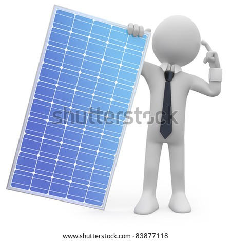 Man holding a solar panel - stock photo