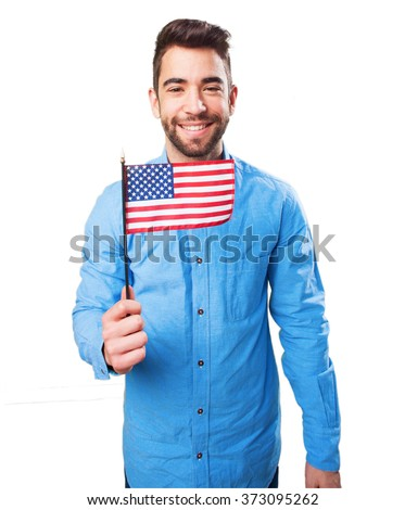 man holding a united states flag