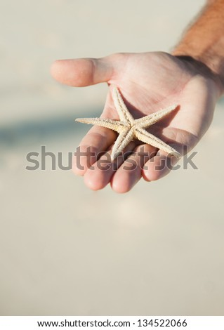 man holding a white star fish, or sea star, while standing on the beach.  the white sand beach is visible in the background - stock photo
