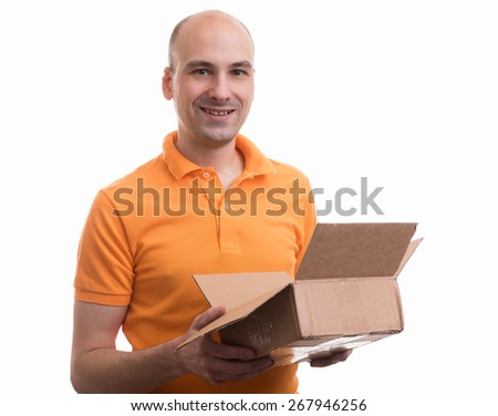 man holding an opened parcel box. Isolated over white - stock photo