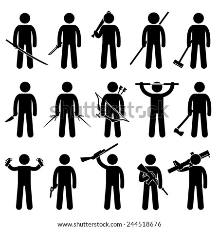 Man Holding and Using Weapons Stick Figure Pictogram Icons - stock photo