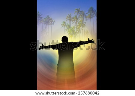 Man holding arms up in praise. Freedom  - stock photo