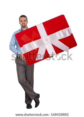 Man holding big gift card  - stock photo