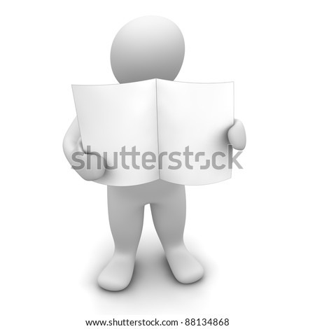 Man holding blank paper or newspaper. 3d rendered illustration. - stock photo