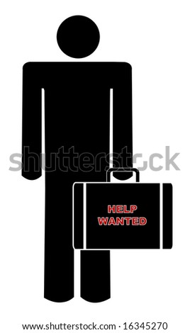 man holding briefcase with sign saying help wanted - stock photo