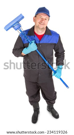 Man holding broom. Isolated on a white background. - stock photo