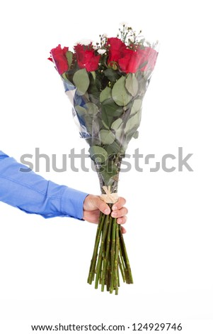 man holding bunch of red roses isolated on white