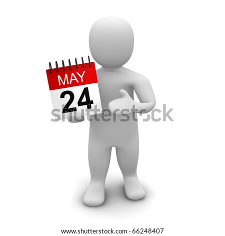 Man holding calendar. 3d rendered illustration isolated on white. - stock photo