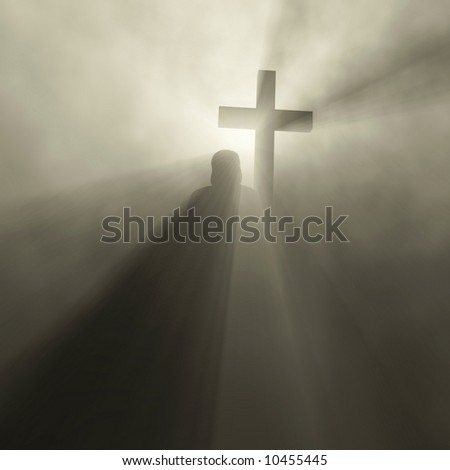 man holding cross - stock photo