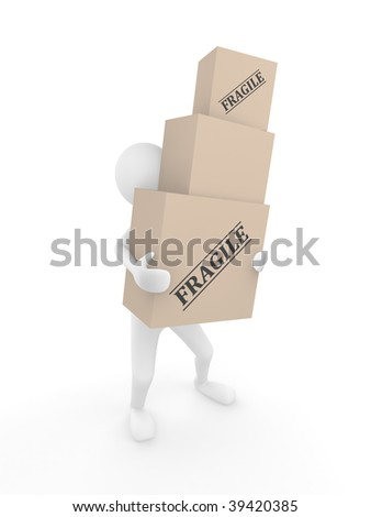 Man holding 3D cardboard boxes with labels Fragile - stock photo