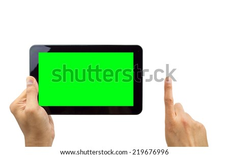 man holding digital tablet computer with chroma key - stock photo