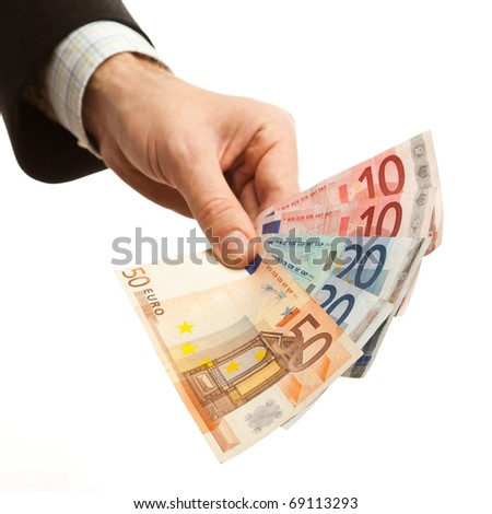 Man holding euro currency - stock photo