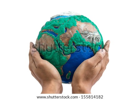 man holding globe made from clay on his hands isolate on white with clipping path