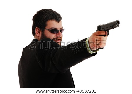 man holding gun wearing sunglasses