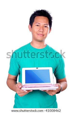 Man holding laptop - stock photo