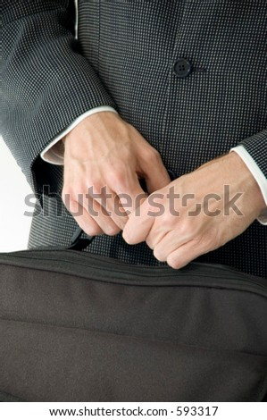 Man holding laptop case, detail