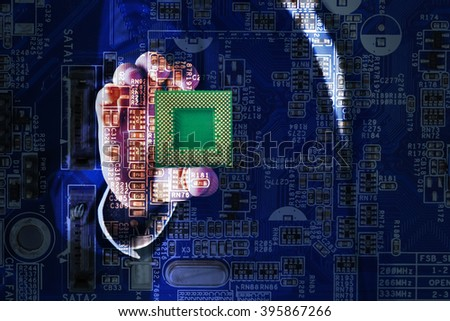 Man holding microchip and electronic circuit board, close up - stock photo