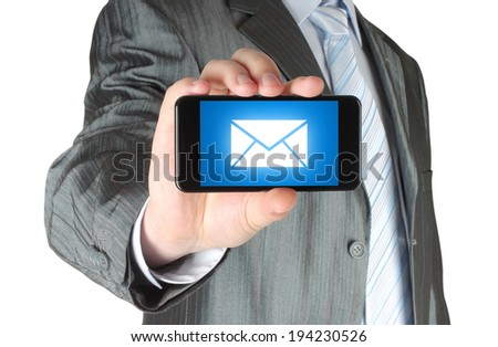 Man holding mobile smart phone with message on its screen on white background - stock photo