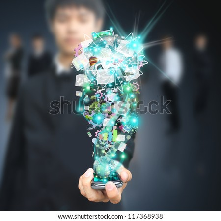 Man holding mobile technology