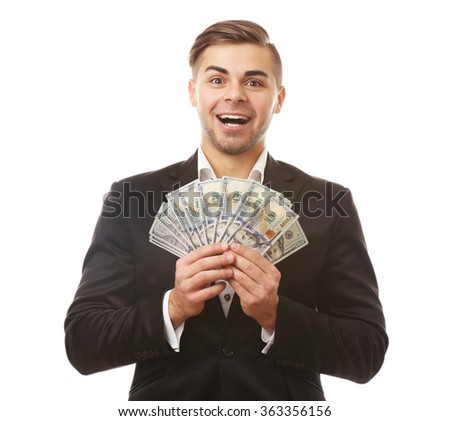 Man holding money isolated on white - stock photo