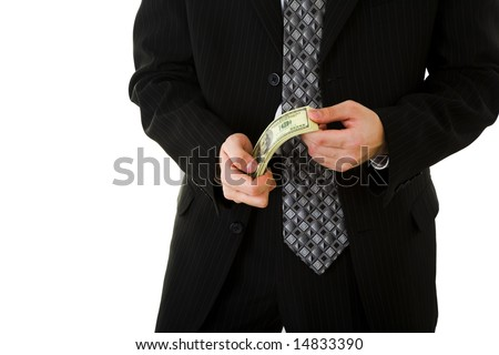 Man holding money on white isolated background - stock photo