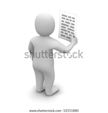 Man holding paper with text. 3d rendered illustration. - stock photo