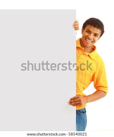 man holding papper - stock photo