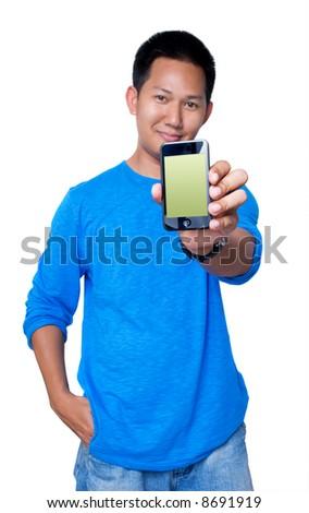 Man holding PDA - stock photo