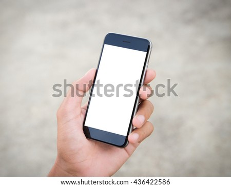 man holding phone white screen - stock photo
