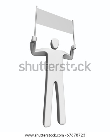 Man holding placard - stock photo
