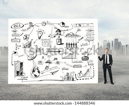 Man holding poster with business strategy - stock photo